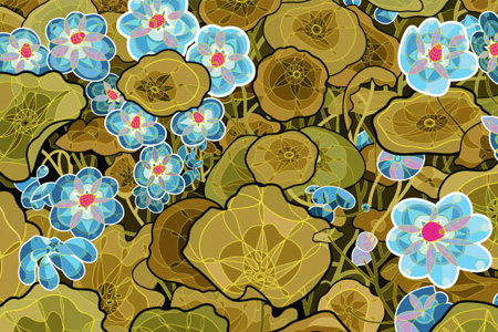 Nasturtiums in Blue and Gold | Digital Print on Paper, 2010